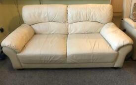 Cream Three Seater Faux Leather Sofa
