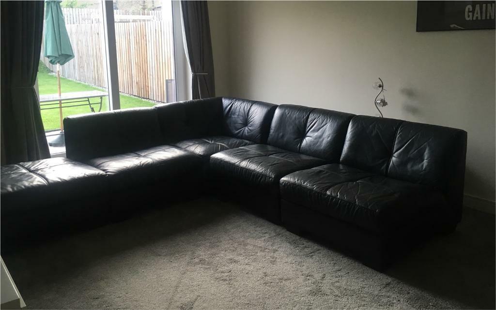 Dfs Black Leather 5 Piece Corner Sofa Adjustable Split In Dundee Gumtree