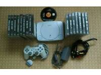 PS1 slim with 16 original games all wires and controller in excellent condition