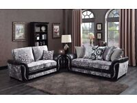 SILVER , BROWN OR GREY DESIGNER NEW FABRIC SOFA SET 3+2 GREY AND BLACK BRAND NEW BOXED