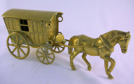 Collectable Brass Vintage Gypsy Caravan and Horse (WH_1736)