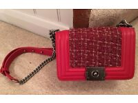 Chanel Le Boy Burgundy Red tweed Dark Red Lamb Leather Small size Bag