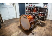 """Mapex Meridian Birch 5 piece """"Fusion"""" Drum Kit Shell Pack in Walnut Fade. Immaculate with Cases."""