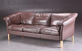 Danish vintage Borge Mogensen style 1970's three-seater leather sofa