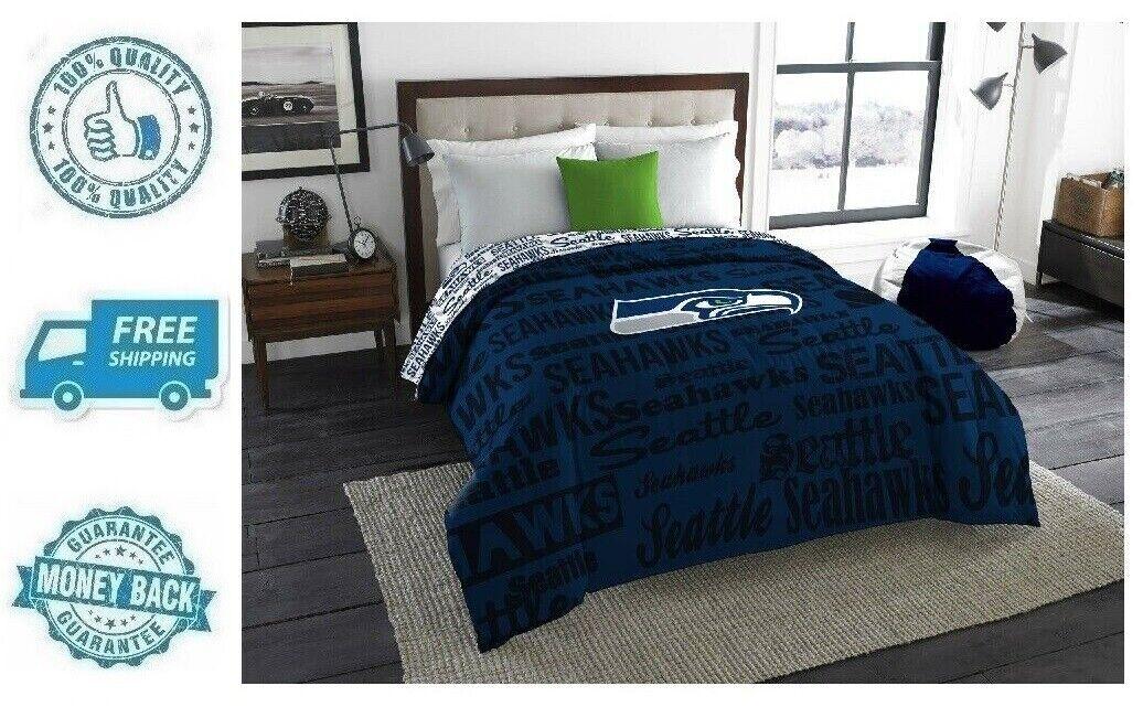 Seattle Seahawks Twin Full Size Polyester Bedding Comforter NFL Sports Blanket