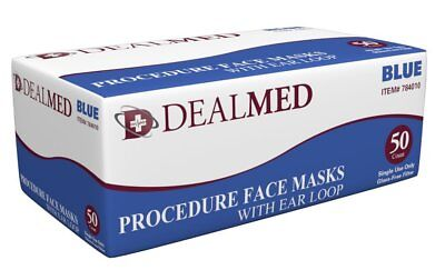 Dealmed Face Mask Disposable Medical For Surgical Breathing Allergy Dust W Loop