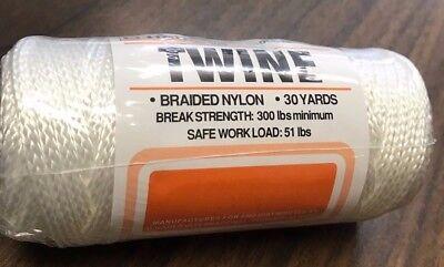 NEW Braided Nylon TWINE 30 yards 300 lb break strength 51 lb safe load ShipsFast