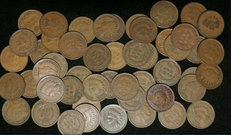 LOT OF 10 Different Mixed Indian Head Cent Pennies in Avg Circ. 1800