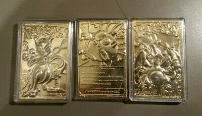 Set of 3 1999 Pokemon 23k Gold Plated Cards JIGGLYPUFF, MEWTWO, CHARIZARD  [NR]