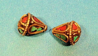 Lot of 2 cone shape design brass coral turquoise color, Tibetan Nepalese Beads