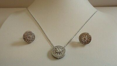 925 STERLING SILVER ROUND DESIGNERS NECKLACE  & EARRING SET W/ 3 CT DIAMONDS