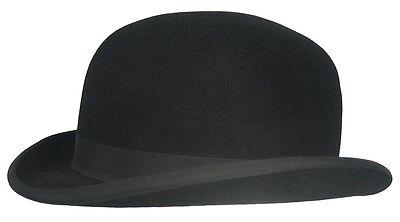 Englische MELONE BOWLER Bowlerhut Bowlerhat Schwarz Haarfilz Hut - Qualität Top Filzhut