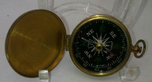 Vintage Brass STANLEY COMPASS Nautical Pocket LONDON Sailor Marine Naval WORKS!