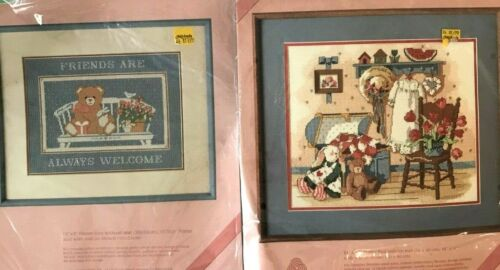 """DIMENSIONS NEW Needlepoint Kits Bundle Vintage 1986-9 """"From The Heart"""" Both!"""