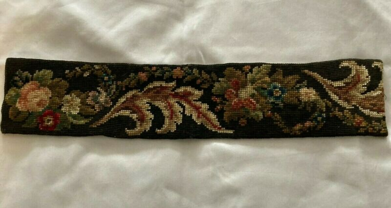 Antique Needlepoint Floral Piece/ Formerly A Bell Pull