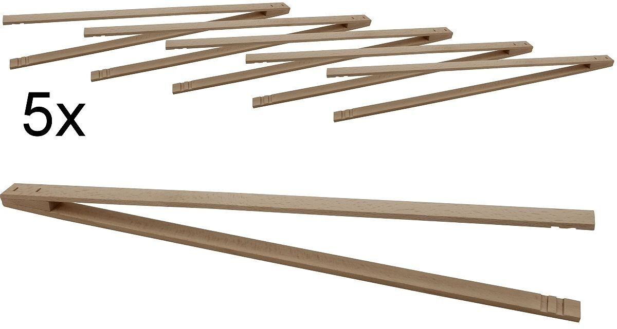 5er Pack Grillzange Ludomax Pro extra lang Buchen Holz, 50 cm, made in Germany