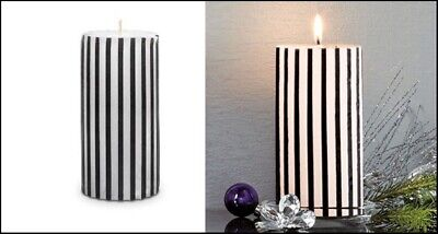 PARTYLITE 2 GLOLITE LIGHT 3x6 PILLAR CANDLES STRIPED BLACK & WHITE VANILLA NIB Black And White Striped Candle