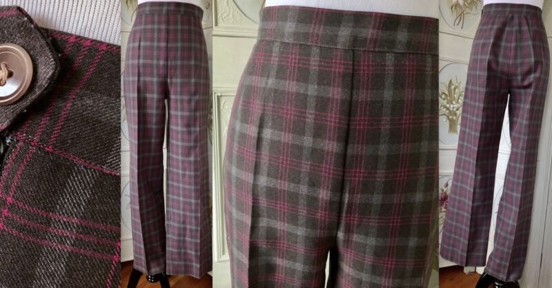 VTG 70s BROWN PINK PLAID POLY WIDE LEG BELL BOTTOMED PANTS DISCO HIGH WAIST