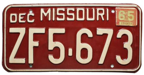 Vintage Missouri 1965 License Plate, ZF5-673, YOM, DMV Clear, Nice Quality