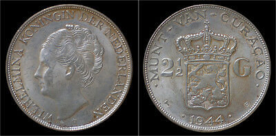 Curacao Wilhelmina I 2 1/2 gulden (rijksdaalder) 1944
