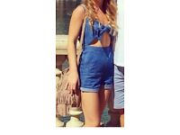 Topshop denim bow front tie playsuit, size 8