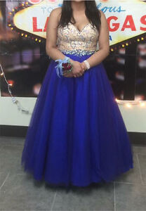Beautiful Royal Blue/Nude grad gown