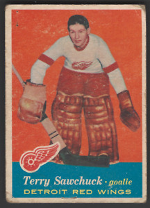 Vintage 1957-58 Topps #35 Terry Sawchuk UER Hockey Card