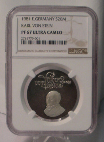 1981 EAST GERMANY SILVER 20 MARK NGC PF 67 UCAM KARL VON STEIN COIN PROOF