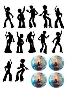Disco Dance Silhouette and Disco Balls Edible Icing Decor for Cakes Free P+P