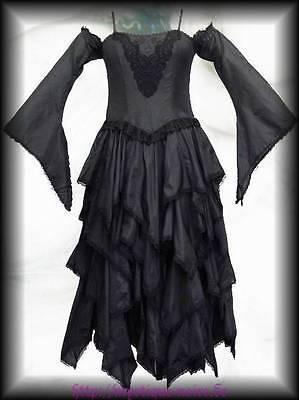 Gothic Vampir Ball Kleid Blütenblätter Kaskaden Zipfel schwarz Mittelalter Elfen