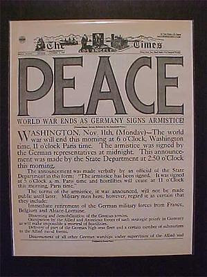 VINTAGE NEWSPAPER HEADLINE~GERMAN ARMY GERMANY SURRENDER PEACE WORLD WAR 1 WWI