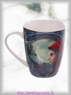 Tasse Kaffeetasse Rotkäppchen Wolf Mond Porzellan Magie Gothic Wicca Grimm