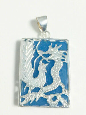 Oriental Dragon Sterling Silver 925 Pendant Blue Stone Hand Crafted
