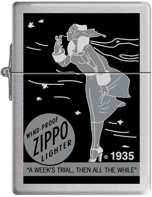 Zippo Windy Girl Lady Circa 1935 Replica Lighter Gray Scale Windproof RARE