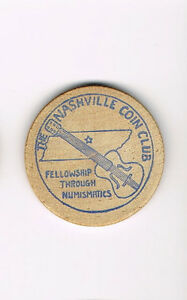 Vintage-Wooden-Nickel-Nashville-Coin-Club-Fellowship-Through-Numismatics-1975