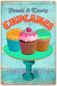 Vintage Retro Cupcake Bakery Shop Metal Sign Unique Kitchen Wall Decor