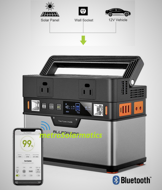 Allpowers Portable Power Bank Solar Generator 372W Battery C