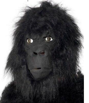 Gorilla Kostüm Maske Voller Kopf Latex & Pelz Affe Maske von Smiffys Neu ()
