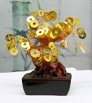 GOLD Golden Oriental Japanese Feng Shui Lucky Chinese Bonsai Money Coin Tree #GS