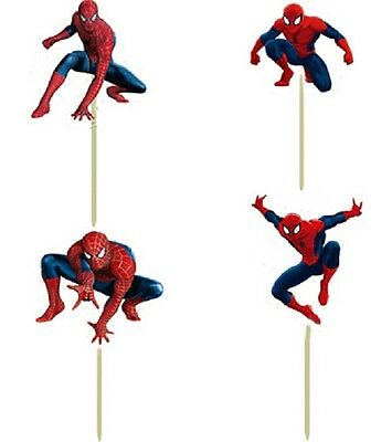 Spider-Man Cupcake Toppers/Food Picks Party Decorating Favor Set of 24 - Spiderman Cupcake Picks