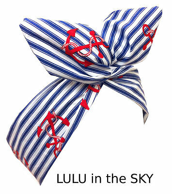 Blue and white stripe nautical wire headband with red anchor print sailor girl
