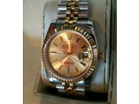 Rolex Date just gold face silver and gold with box