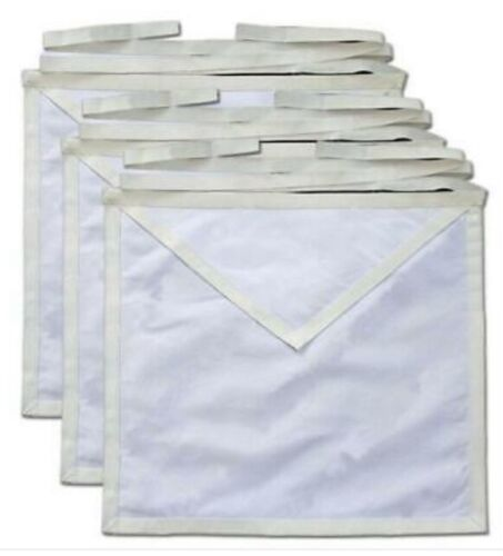 MASONIC  COTTON DUCK CLOTH CANDIDATE APPRENTICE APRONS - PACK OF 6 PIECES