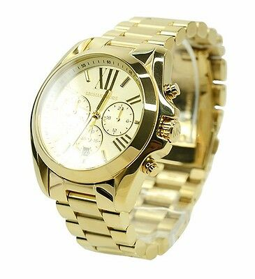 Michael Kors MK5605 Bradshaw Gold Tone Chronograph New Wrist Watch Free Shipping