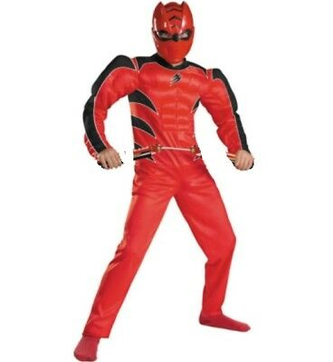 Power Rangers Jungle Fury RED Ranger Muscle Costume + Mask Boy's size 10-12 New (Power Rangers Jungle Fury Mask)