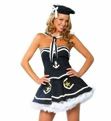 Naughty Dress Up Costumes (Sailor Costume Strapless Top Skirt Scarf Hat Anchor Naughty Navy Yard Vixen)