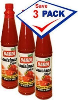 BADIA - Louisiana Cajun Hot Sauce 3 oz (3 PACKS) - Salsa Picante estilo -