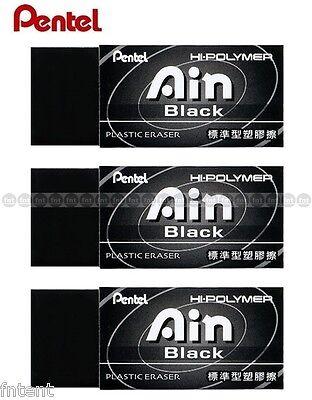 Pentel Ain Hi-polymer Plastic Eraser 43x17.5x11.5mm X 3 Pcs - Black Zeah06at