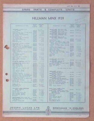 Hillman Minx 1939   Lucas Parts List 374  Others available