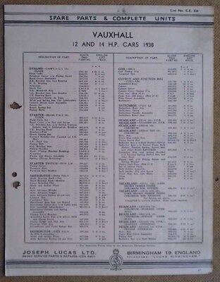 Vauxhall 12 & 14hp model 1938   Lucas Parts List 334